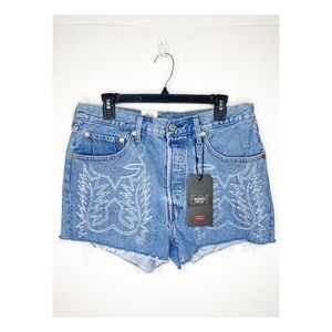 NEW Levi's Western Embroidered Denim Shorts 31